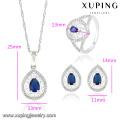63833 Xuping Fashional elegante lujo color de rodio conjunto de joyas de circón