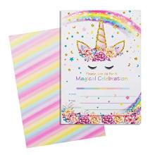 24 Peças Kit Rainbow Unicorn Feliz Aniversário Cartão Do Convite Do Partido, mágico de Ouro Glitter Unicorn Cartão De Agradecimento