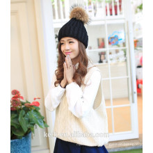 lingshang high quality fashionable warm knitting pattern beanie lady hat with top ball