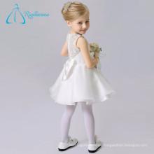 Organza encaje una línea de escote arco blanco flor chica vestidos