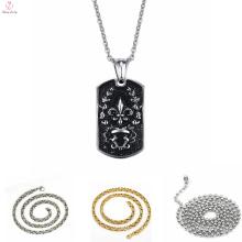 Chaîne de collier d'acier inoxydable plaqué par coutume d'or, collier d'acier inoxydable de pendentif de punk 316L