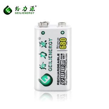 Haute capacité travail plus durable 680 mah batterie rechargeable li ion batterie 9 v batterie