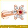 Chirurgenstahl Rose Vergoldet Prong Set Blume Top Intern Gewinde Labret Tragus Knorpel
