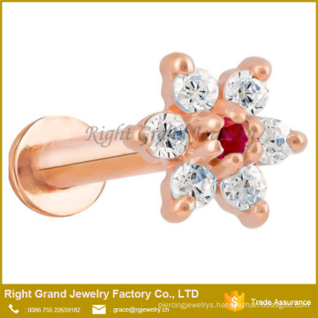 Surgical Steel Rose Gold Plated Prong Set Flower Top Internally Threaded Labret Tragus Cartilage