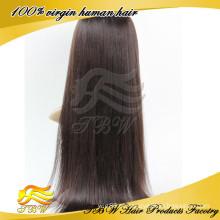 2015 melhor venda virgem cabelo europeu de seda em linha reta cabelo humano peruca cheia do laço
