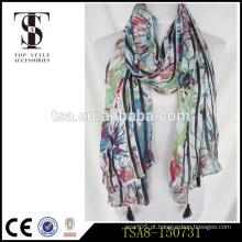 Todo-emparelhado padrão floral colorido pashmina pastorável 100% lenço de viscose