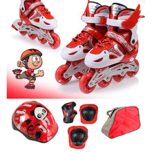 Kids Sports Red Inline Skate Set