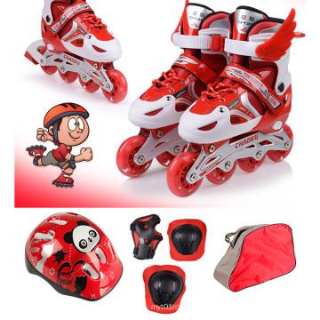 Kids Sports Red Inline Skate Set