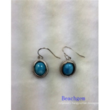 Jewellery-Natural Larimar Sterling Silver Earrings (E1306)