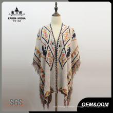 Women Fashion Oversized Cardigan Poncho with Fringe Hem