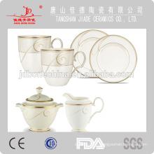 Тиснение золотой ободок чай кофе наборы чашка & блюдце кость фарфор керамическая кружка с крышкой