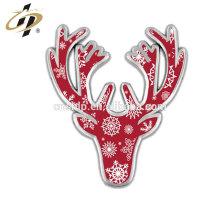 Badge de cerf de Noël en métal doré émaillé nickelé brillant