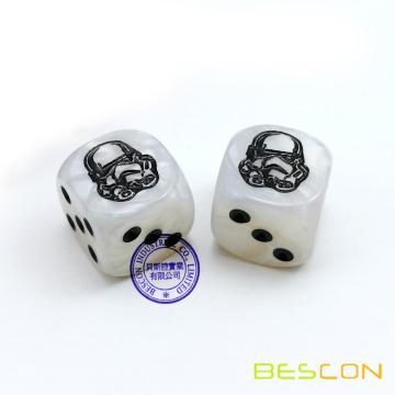 Custom & Unique {Standard Medium 16mm} 6 Sided [D6] Round Cube Shape Playing & Game Dice w/ LOGO Engraved