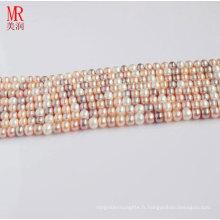 10-11mm Multi Color Fresh Pearl Pearl Strand, Button Round