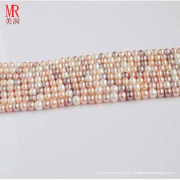 10-11mm Multi Color Fresh Water Pearl Strand, Round Button