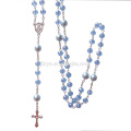 Fashion Bling Bling Blue Crystal Prayer Catholic Cross Rosary Necklace
