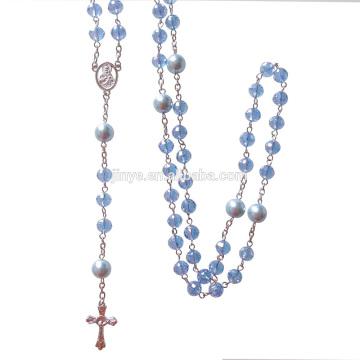 Collier de chapelet de croix catholique de Bling Bling Bling bleu en cristal