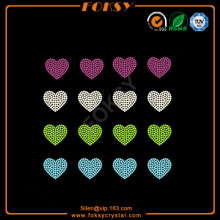 Leading for Heart Rhinestone Transfer Colorful Heart motif wholesale rhinestone heat transfers export to Jamaica Exporter