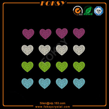 New Fashion Design for Rhinestone Heart Iron On Transfer Colorful Heart motif wholesale rhinestone heat transfers export to China Hong Kong Factories