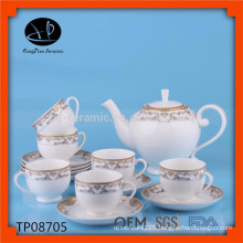 New design turkish ceramic tea set tea pot set with decal design