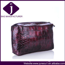 Top Quality Woman Wine Red Clutch Evening Bags Croco PU Leather Cosmetic Bag CB021