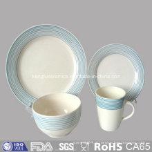 Conjunto de pratos de porcelana ocidental com grés