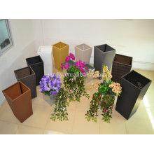 TF-9610 Self-Watering Square Tapered Planter-Woven Wicker Surface flower pot/rattan garden flower pot