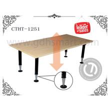Mesa regulável em altura regulável manual com mesa de pés regulável e mesa ajustável em 4 pés com parafusos