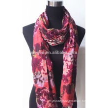 100% F Wool Printed Scarf with Fringe