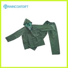 Traje impermeable de la lluvia de los hombres del poliester del PVC Rpp-016