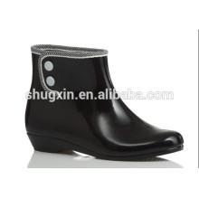 Nuevas mujeres botas de lluvia de tobillo de goma overshorse negro D-625