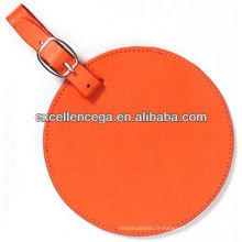 Étiquette à bagage en cuir ronde