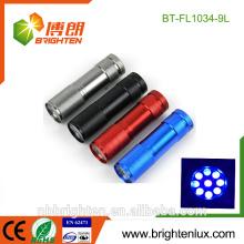 Alibaba Verkauf Mehrfarben Aluminium Geschenk UV Nagel Gel Schwarz Licht Günstige Preis CE 9Led Währung Checker 380nm uv führte für Insekt
