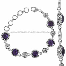 Latest Design Amethyst Gemstone 925 Sterling Silver Bracelet Jewelry