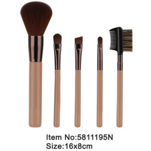 5pcs travel plastic handle animal/nylon hair makeup brush set