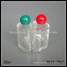 25ml yinyang shape perfume bottle, clear perfume bottles, 25ml perfume bottle with green or red plastic cap