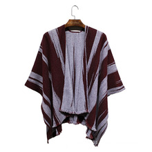 Woman Fashion Acrylic Tatted Striped Fringed Winter Shawl (YKY4492-2)