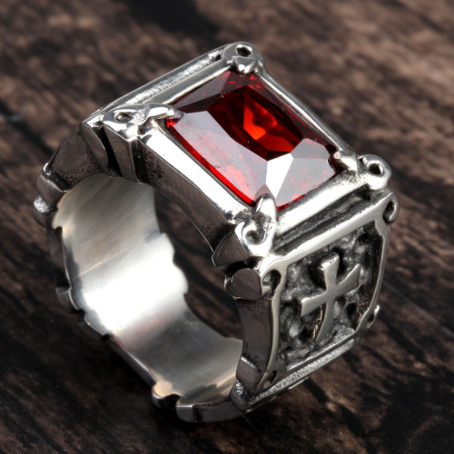 Big Stone Stainless Steel Ruby Ring For Women
