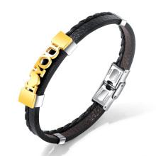 Couro do monograma eu te amo pulseira para ela