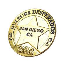 Reto Metal moneda chapado en oro de diseño de la estrella por mayor