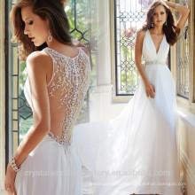 Dernières robes Alibaba Elegant V Neck Robe de mariée en mousseline de soie marrante robuste en V Vestidos de Novia 2016 LW253