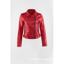 Red shine pu moto jacket