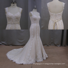 Sheer manches robe de mariée sirène dentelle robe de mariée robe de mariée