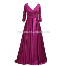 Madre larga de los vestidos de novia 2016 de alta calidad A-line V-cuello medio mangas de los vestidos de fiesta formal para la madre Appliqued vestidos con cuentas