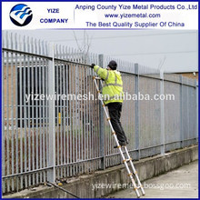 High Security Galvanised Steel curved top palisade / Security palisade fence with razor wire
