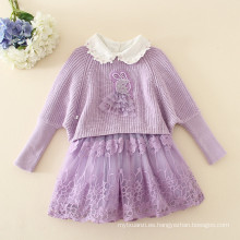 nuevo vestido de suéter de la manera con el conjunto del bordado conjunto del vestido del suéter del otoño conjuntos de ropa