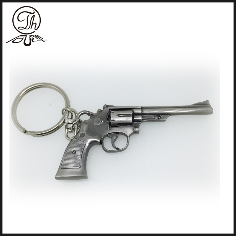 Antique revolver metal key rings