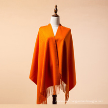 Plain orange color mongolian high quality cashmere scarf mongolia