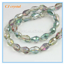Teardrop glass beads beads green turquoise beads chain