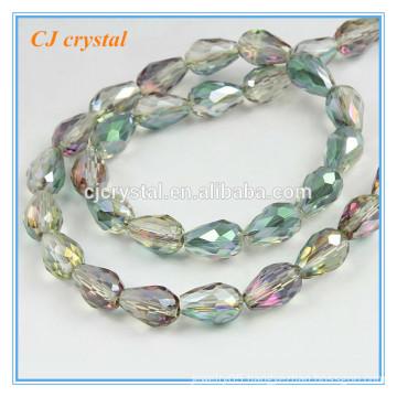 Teardrop glass beads beads green turquoise beads chain